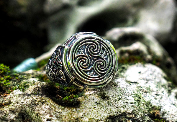 925 Sterling Silver Celtic Triskelion Ring Punk Rock viking Ring For Men Ring Size 6-15