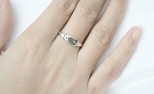 925 Sterling Silver Princess Belt Ring Gift Idea Rocker Gothic Woman Jewelry -  Silver ring (SR-051)