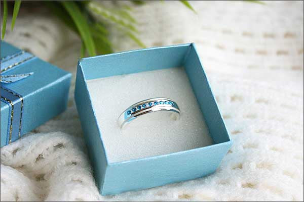 Blue Topaz  - 925 Sterling Silver Band - For Casual Wedding or Engagement - Engravable and Customized Options Available -  Silver ring (R92)