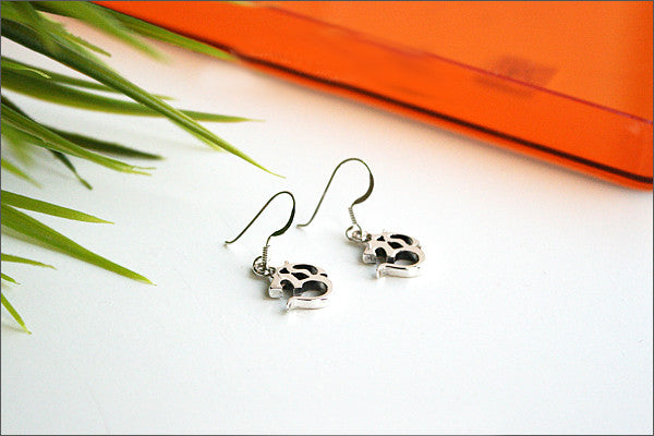 Ohm Earrings - 925 sterling silver ohm earring - Om Earrings Yoga Earrings Spiritual Jewelry - Ohm Charm Earrings (E-34)