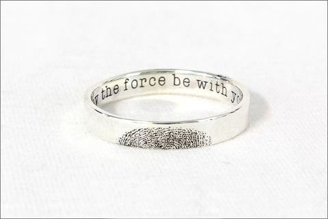 Custom Inner Fingerprint Ring - Engraving Wedding Band - Fingerprint Ring - Custom silver fingerprint - 925 Sterling Silver 4 mm (RB-1)