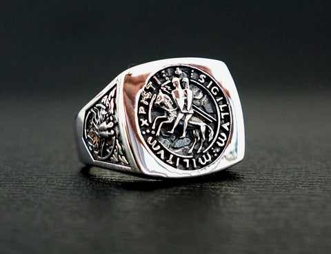The Seal of Knights Templar Ring, Templar Masonic Ring 925 Sterling Silver Size 6-15