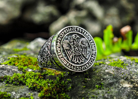 925 Sterling Silver Odin Ravens Viking Ring Nordic Celtic Viking Norse Jewelry Size 6-15