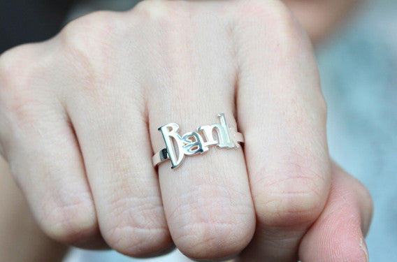 Name ring - silver name ring - name jewelry - Personalized name Ring  (R3D)