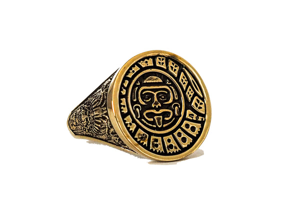 Mens Mayan Calendar Ring Aztec Mayan Ring Brass Jewelry Size 8-15 (BR-1 )