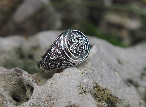 Sleipnir Ring, Odin's Steed Ring, Sleipnir (Steed of Odin) ring, Viking Ring, Norse Viking Jewelry 925 Sterling Silver size 6-15