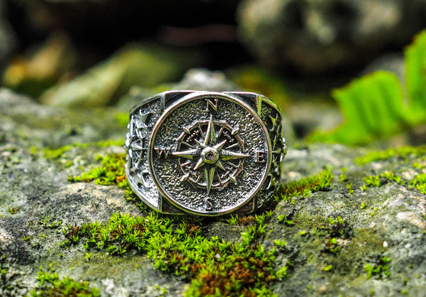 925 Sterling Silver Compass Ring Men Punk Jewelry Biker Band Ring Size 6-15