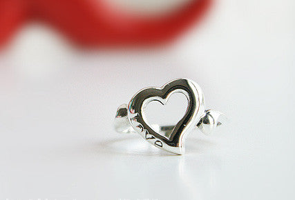925 Sterling Silver Heart  Ring Love ring Gift Idea  Rocker Gothic Woman Jewelry (SR-011)