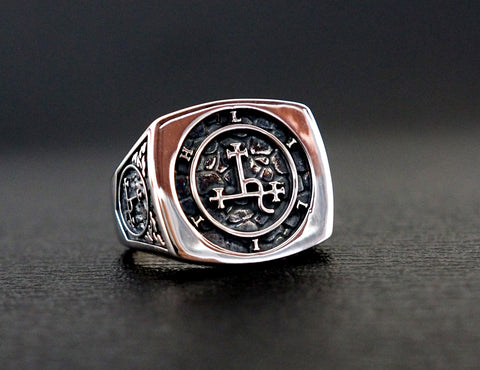 Lilith sigil ring, Seal Sigil of Lilith ring , 925 Sterling Silver Size 6-15