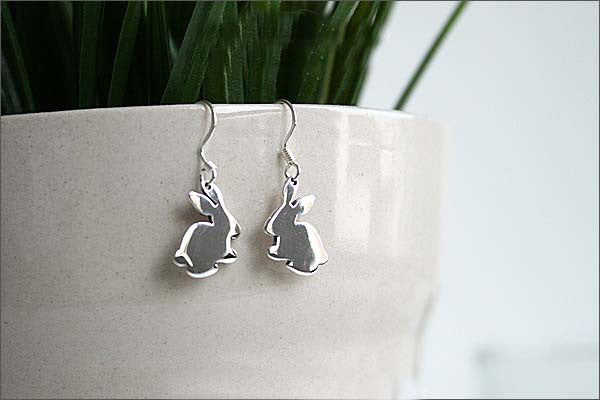 Bunny Rabbit Earrings  - 925 Sterling Silver - Silver  earrings - Love earrings Gift Idea Rocker Gothic Woman Jewelry (E-12)