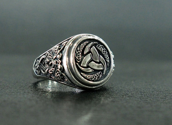 Triple Horn of Odin Ring, Viking Ring, Scandinavian Norse Odin's Ring Viking Jewelry 925 Sterling Silver Size 6-15