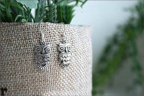 Owl Earrings  - 925 Sterling Silver - Silver  earrings -  Love earrings Gift Idea Rocker Gothic Woman Jewelry (E-25)