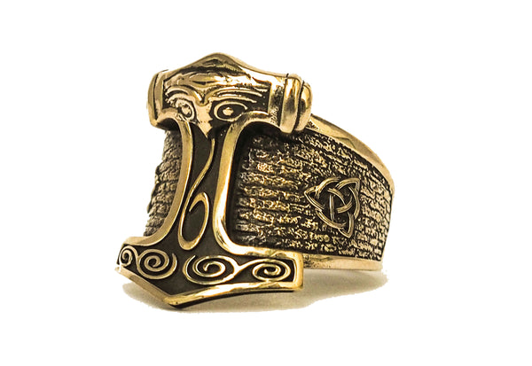 Thor's Viking Hammer Mjolnir Men's Biker Rocker Ring Brass Jewelry (BR-72 )