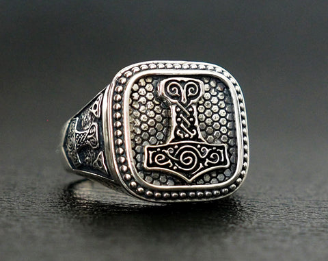 Thor's Hammer Mjolnir Ring Norse Scandinavian Viking Jewelry 925 Sterling Silver Size 6-15