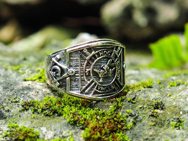 925 Sterling Silver Knight Templar Cross Masonic in Hoc Signo Vinces Biker Ring Size 6-15