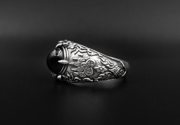 Onyx Men Nordic Viking Bear Paw Ring 925 Sterling Silver Size 6-15