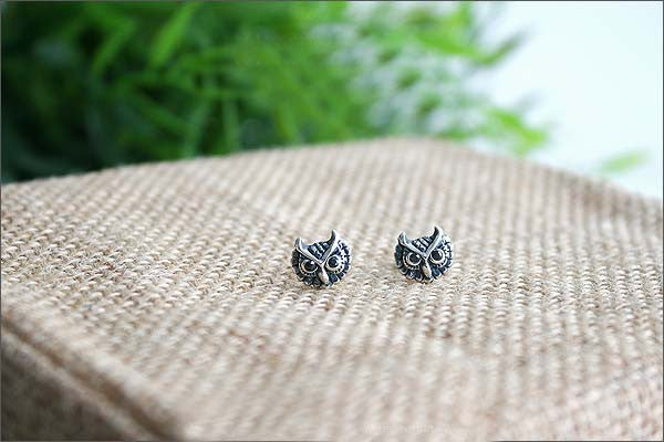 Owl Earrings  - 925 Sterling Silver - Silver  earrings -  Love earrings Gift Idea Rocker Gothic Woman Jewelry (E-31)