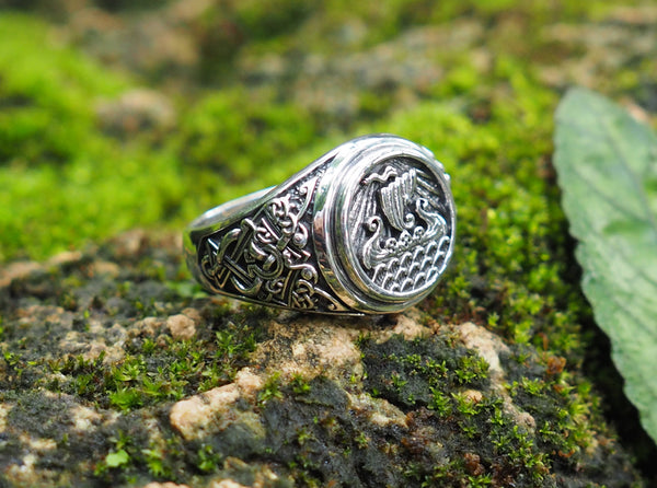Viking Ship Ring, Drakkar Ring, Scandinavian Norse Viking Jewelry 925 Sterling Silver Size 6-15
