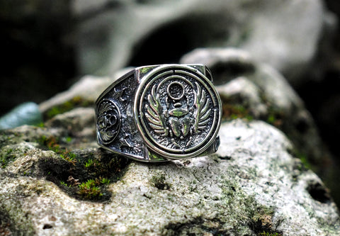 925 Sterling Silver Egyptian Scarab Beetle Ring Ancient Egypt Amulet Jewelry  Size 6-15
