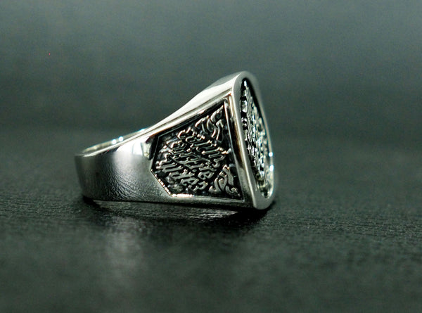 Illuminati Ring, Men's Ring, Agent Masonic Ring 925 Sterling Silver Size 6-15