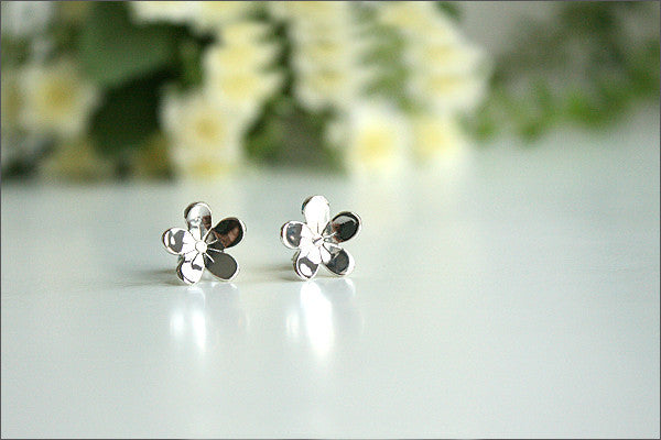 clover stud earrings - 925 sterling silver lucky clover stud earrings (E-23)