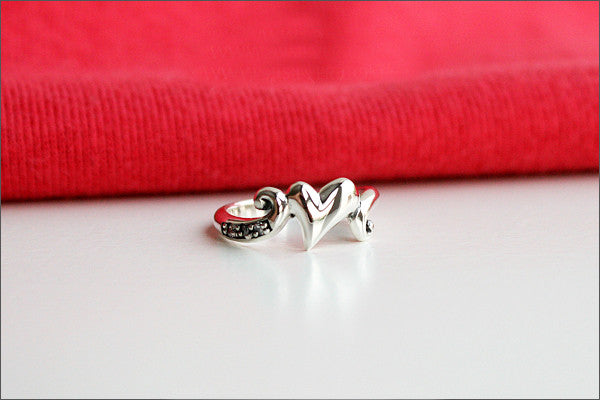 925 Sterling Silver Heart to Heart Ring, Silver ring, White CZ (Cubic Zirconia) stone (R-103)