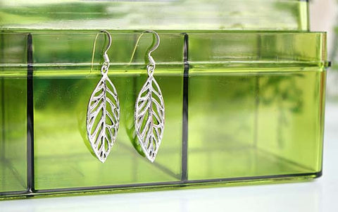 Leaf Earrings Earrings - 925 Sterling Silver - Silver  earrings -  Love earrings Gift Idea Rocker Gothic Woman Jewelry (E-16)
