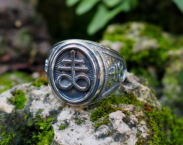 Satanic Cross Ring, Brimstone Ring 925 Sterling Silver Size 6-15