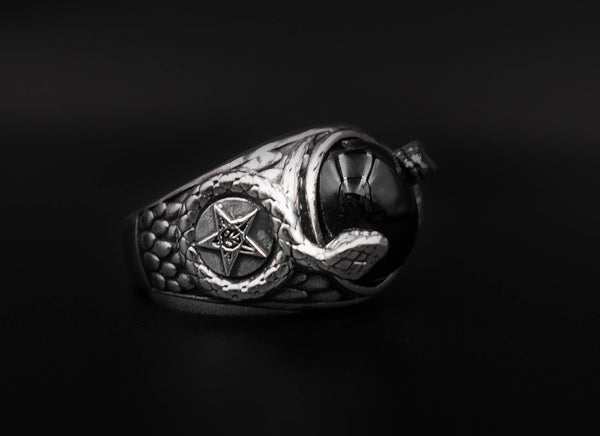 Onyx Church of Satan Sigil of Baphomet Ring, Onyx Snake Ring 925 Sterling Silver Size 6-15