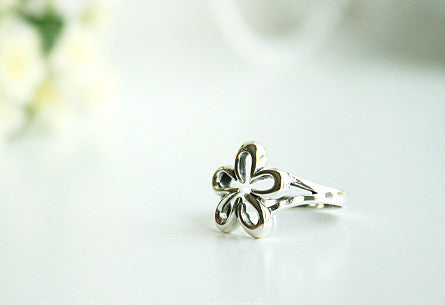 925 Sterling Silver Ring - flower Ring Style Gift Idea Rocker Gothic Woman Jewelry -  Silver ring (SR-037)