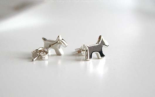 Dog earrings - 925 Sterling Silver - Silver  earrings - Love earrings Gift Idea Rocker Gothic Woman Jewelry (E-07)