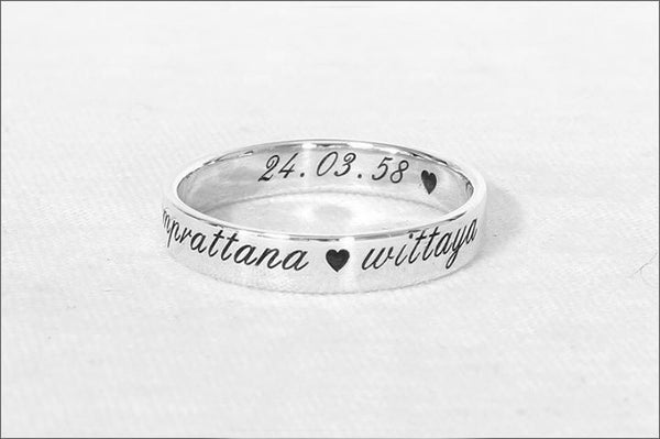 Engraved Ring Personalized Ring Custom Stamped Ring Name Ring Promise Ring Wedding Band 925 Sterling Silver 4 Mm Rb 1