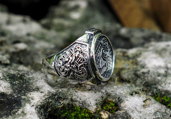 925 Sterling Silver Owl Animal Bird Ring Nordic Celtic Viking Norse Jewelry Size 6-15