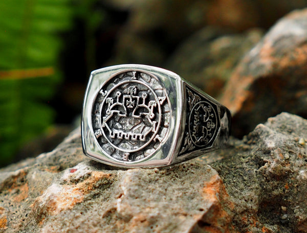 Belial sigil ring, Seal Sigil of Goetia Belial Ring, Amulet  Solomon Ring, Belial sigil jewelry 925 Sterling Silver Size 6-15