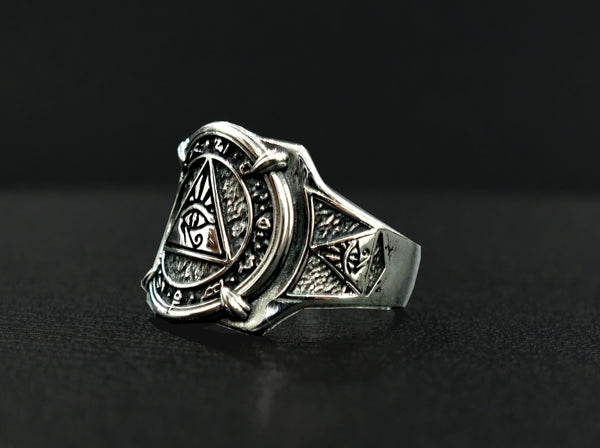 Eye of Horus Ring, Egyptian Hieroglyphics Ring, Silver Egypt Jewelry, Egyptian Rings Egyptian Amulet 925 Sterling Silver Size 6-15