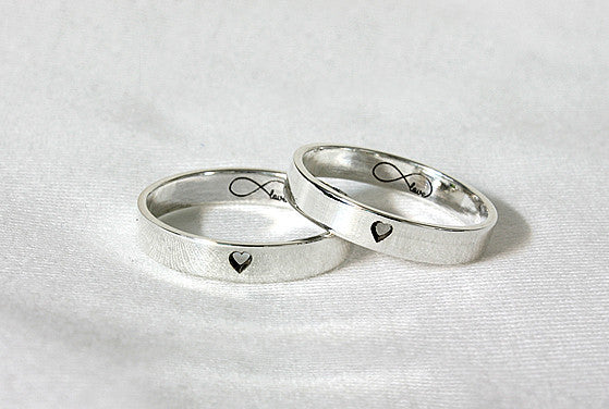 Heart engraved band ring - 925 Sterling Silver 4 mm Custom Ring -cute ring couple ring - Engraved ring - anniversary ring - Twin Ring - Price for Two Ring (RB-1)