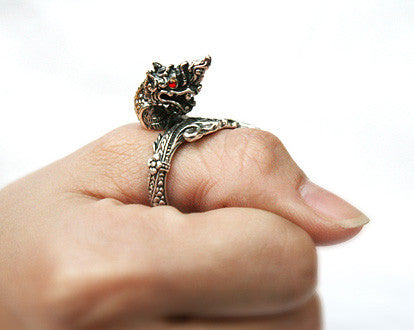 925 Sterling Silver Naga ring  serpent ring  king of Nagas ring Style Gift Idea Rocker Gothic Woman Jewelry (SR-047)