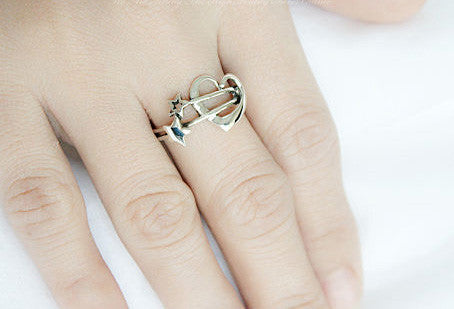 925 Sterling Silver Ring - Heart Ring,  Star ring  Woman Jewelry -  Silver ring  (SR-019)