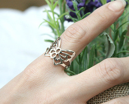 925 Sterling Silver butterfly ring Style Gift Idea Rocker Gothic Woman Jewelry -  Silver ring (SR-035)