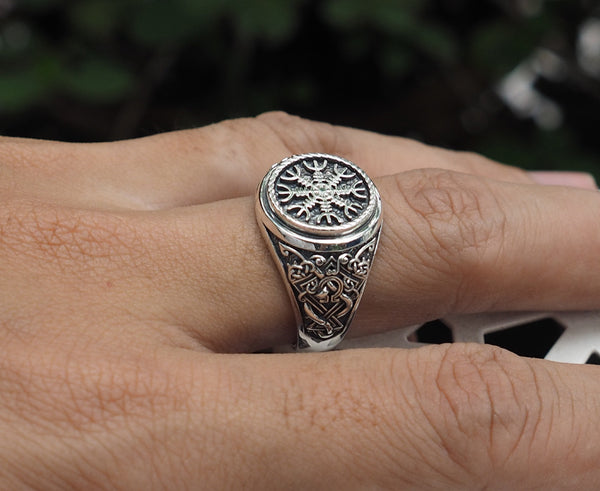 The Helm of Awe Ring, Aegishjalmur Ring, Norse Viking Jewelry 925 Sterling Silver Size 6-15
