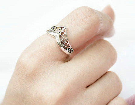 925 Sterling Silver Princess Crown Ring/ Queen Crown Ring Gift Idea Rocker Gothic Woman Jewelry -  Silver ring (SR-022)