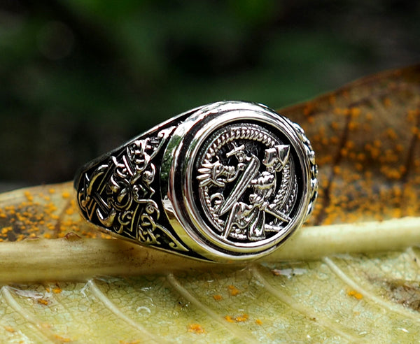 Siegfried and Fafnir Ring, Siegfried and Fafnir Viking Ring, Norse Viking Jewelry, 925 Sterling Silver Size 6-15