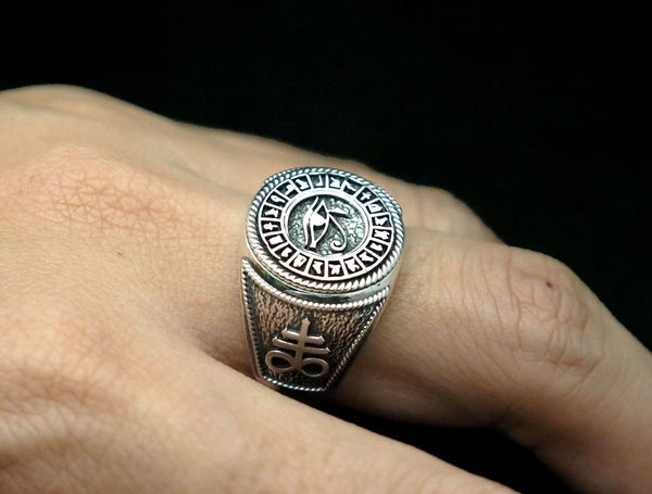 Men's Satanic Cross Egypt Eye of Horus Protection Ring 925 Sterling Silver Size 6-15
