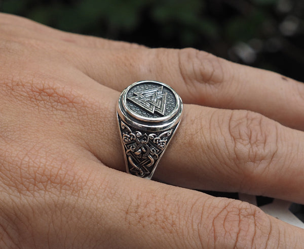 Valknut Ring, Valknut Viking Ring, Norse Scandinavian Jewelry 925 Sterling Silver Size 6-15