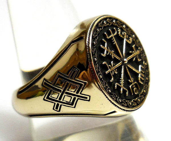 Vegvisir Ring Icelandic Viking Asatru Compass Norse Runes Ring In Brass Jewelry (BR-65)