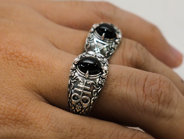 Church of Satan Satanic Baphomet Leviathan Cross Onyx Ring 925 Sterling Silver Jewelry Size 6-15