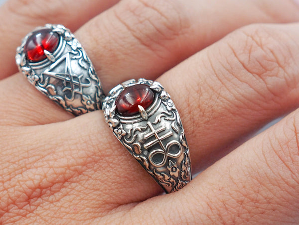 Church of Satan Satanic Baphomet Leviathan Cross Garnet Ring 925 Sterling Silver Jewelry Size 6-15