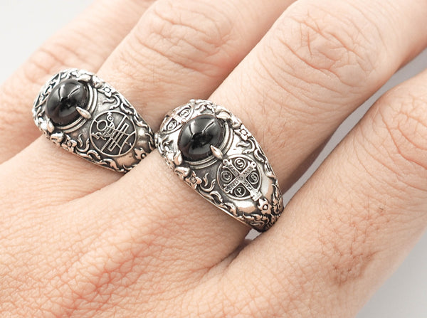 Onyx Men's St Benedict Exorcism Ring Cross Demon Protection Ring 925 Sterling Silver Size 6-15