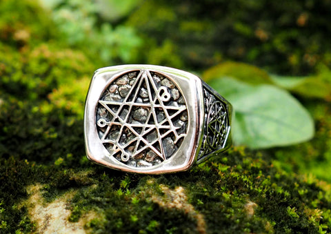 Seal Sigil of the Necronomicon Ring, Necronomicon Ring, Necronomicon jewelry 925 Sterling Silver Size 6-15