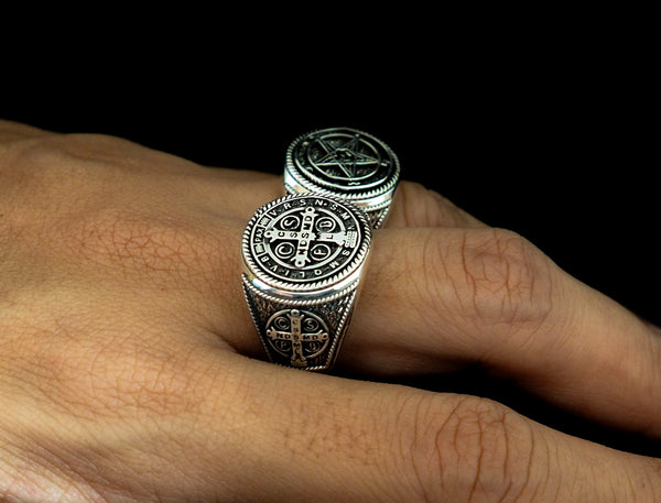 Men's St Benedict Exorcism Ring Cross Demon Protection Ring 925 Sterling Silver Size 6-15